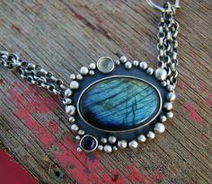 Aglow in the Night - Labradorite Sterling Silver Bracelet by MercuryOrchid