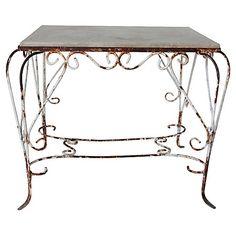 French Iron & Concrete Garden Table $595.00