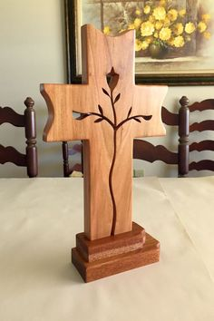 Standing Graceful Life Cross Cherry with mahogany base.