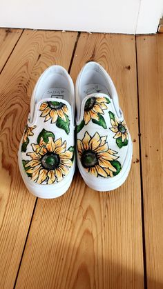 Sunflower slip on vans - hand painted