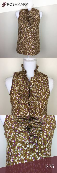 "J. Crew Sleeveless 100% Silk Blouse with Ruffles This brown, white and purple sleeveless top from J. Crew is sleeveless and features a ruffled neckline. Size: 0. Chest: 17"". Length: 25"". J. Crew Tops"
