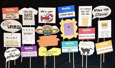 Friends TV Show Themed Photo booth props. You get everything in the photo. These images are printed on premium card stock and attached to a 12 wooden dowel. Ships in 3-5 business days. Message me if you have any questions. You get 20 pieces total: 6-hello name tags: Regina Falange,