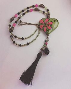 6f0e6f0258af Hand made necklace. Heart and tassel. Made in México. Collar de corazón y
