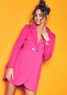 ca10955d8a773 Missyempire - Jolene Hot Pink Tuxedo Wrap Mini Dress Pink Tuxedo