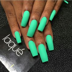 long mint green nails