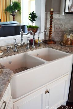A Farm Sink That Is Divided! Just What I Have Been Wanting. Three Pixie  Lane: The {{Complete}} Kitchen Remodel