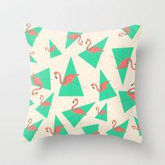 Crazy Flamingos Throw Pillow