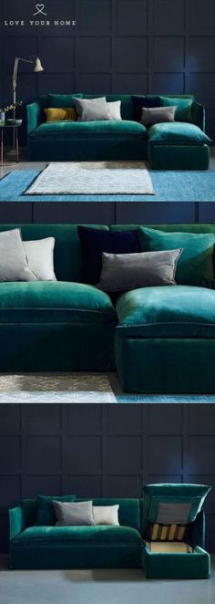 Sophie – Chaise Corner Sofa Bed Love Your Home – The Sophie 3 Seater Sofa Bed is upholstered in a gorgeous teal stain resistant velvet. Paired with dark blue walls and accessorised with teal, grey and mustard velvet cushions. Mustard Living Rooms, Living Room Sofa, Living Room Decor, Dark Blue Walls, Corner Sofa Living Room, Teal Sofa Living Room, Teal Living Rooms, Living Room Grey, Living Room Decor Gray