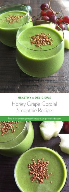 Honey Grape Cordial Smoothie on Green Blender Healthy Green Smoothies, Healthy Breakfast Smoothies, Healthy Drinks, Healthy Meals For One, Healthy Pastas, Easy Healthy Recipes, Moringa Smoothie Recipe, Smoothie Recipes, Drink Recipes