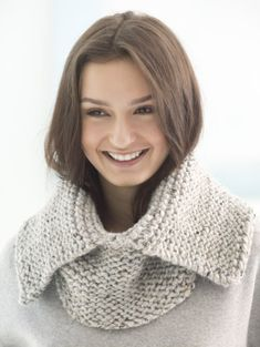 Loom Knit Split Collar Cowl
