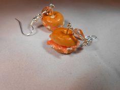 Salmon and Cream Cheese Bagel Earrings Miniature by katkraftuk, £6.00