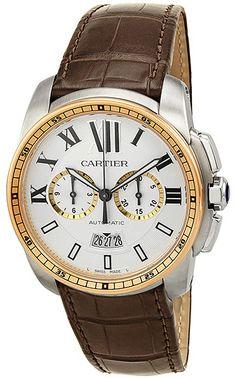 Cartier Calibre Chronograph Automatic Leather Men's Watch  #Cartier #CartierWatch #CartierMensWatch #CartierWatchSale #MensWatchesonSale #LuxuryWatches