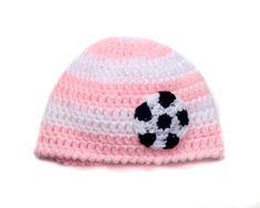 Baby Girl WORLD SOCCER HAT, Girl Football, Baseball, Basketball Beanie, Crocheted Baby Girl Soccer, Pink White Baby Soccer, Baby Soccer Ball by Grandmabilt on Etsy