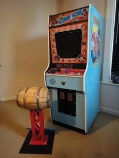 My scratch built replica Donkey Kong cabinet with DK themed stool