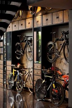 #space #storage #bicycle Garage, ideas, man cave, workshop, organization, organize, home, house, indoor, storage, woodwork, design, tool, mechanic, auto, shelving, car. #WoodworkDesign