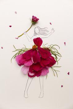 Inspiration: When Flowers & Fashion Illustrations Become One — Franki Durbin Flower Words, Flower Art, Unique Drawings, Art Drawings, Flower Rangoli, Flower Phone Wallpaper, Creative Artwork, Digital Art Girl, Little Flowers
