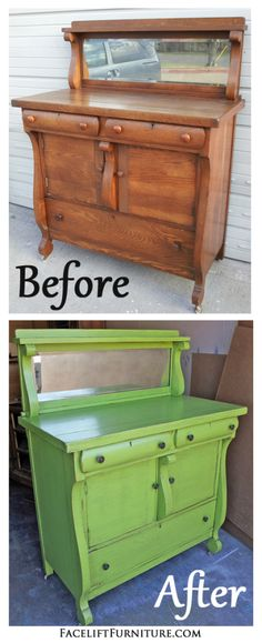 Antique sideboard with mirror in distressed Lime Green with Black Glaze. Repurposed as a baby changing table. Before and After from Facelift Furniture. Furniture, Furniture Blog, Redo Furniture, Refurbished Furniture, Painted Furniture, Painted Bedroom Furniture, Recycled Furniture, Diy Furniture Projects, Green Painted Furniture