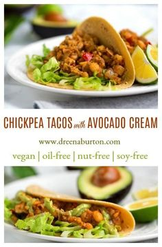 Chickpea Tacos with Avocado Cream: Recipe from The Cheese Trap (vegan, gluten-free, oil-free, nut-free) - Vegan Recipes Healthy Gluten Free Recipes, Vegan Dinner Recipes, Delicious Vegan Recipes, Vegan Dinners, Mexican Food Recipes, Whole Food Recipes, Vegetarian Recipes, Cooking Recipes, Vegan Chickpea Recipes