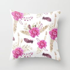 Autumn Forest Floral Throw Pillow