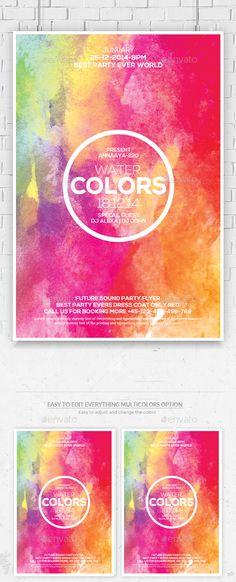Watercolor Flyer Template PSD #design Download: http://graphicriver.net/item/watercolor-flyer-template/13906224?ref=ksioks