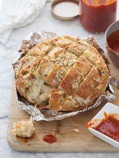 Mozzarella cheese bread with marinara dipping sauce.  Yes, please!