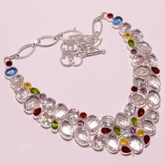 .925 Sterling silver crystal+peridot+garnet+bt necklace f176 86gm #Handmade #Necklace