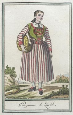 Costumes de Différents Pays, 'Paysanne de Zurich' Labrousse, 1797.