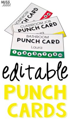 Editable punch pass cards are great for classroom management or behavior at home. Use them for bathroom passes, homework completion, classroom jobs, chores, etc.
