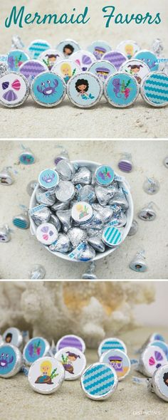 Creative idea to make simply Mermaid Birthday Party Favor with Hershey Kisses and Stickers.
