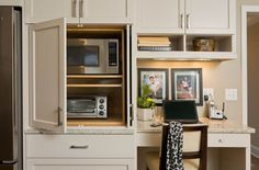 I like the doors and space here -could use top shelf for other appliances instead of microwave Kitchen Doors, Kitchen Redo, Kitchen Pantry, New Kitchen, Kitchen Remodel, Kitchen Cabinets, Kitchen Appliances, Small Appliances, Kitchen Small