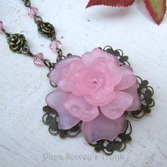 Pink Rose Necklace 1095244 by PapaSpiveysTrunk for $60.00