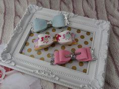 Pink lt. Blue Bow Set Glitter Sparkle Hair Bow Pink Glitter Clip Handmade Headband Baby Photo Prop Toddler Wool Felt Mini Hair Bows