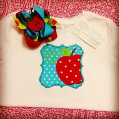 The cutest back to school shirt and matching hair bow.