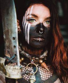Football Names Dirty Tribal Warrior, Viking Warrior, Larp, Viking Makeup, Fantasy Football Funny, Wasteland Warrior, Tribal Makeup, Fallout Cosplay, Warrior Paint