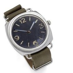 """Rolex. A rare stainless steel cushion shape military divers wristwatch made for the German Navy. Circa 1940. This watch is known as the """"Kampfschwimmer"""" as the German military divers used them during activities in the Second World War. 17-jewel Cortebert nickel plated lever movement, matt black dial with luminous baton markers and quarter Arabic numerals with closed 6 and 9, luminous baton hands, water-resistant type patented case with later crown."""
