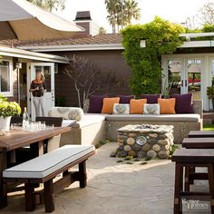 Key ideas for turning a large space into intimate outdoor rooms.