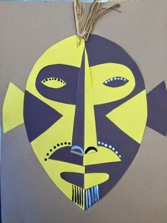 This is a great lesson to combine the topic of African Masks with symmetry. The kids love this project because it is very successful and stunning with the high contrast colored construction paper. H