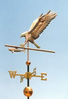 Bald Eagle Weather Vane, Hunting by West Coast Weather Vanes.  The original idea of incorporating the directionals into an active design element of the turning weathervane, is an original design concept by West Coast Weather Vanes.