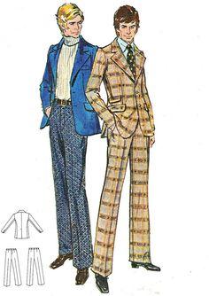 1970s Mens Suit Pattern Butterick 6425 Two Piece Suit Sportcoat Jacket Pants Chest 40 Uncut