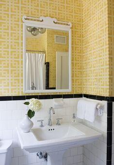 sweet bathroom, love yellow with black & white