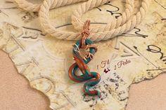 Ras de Cou Pendentif Serpent Bleu et Cuivre Belière Wire