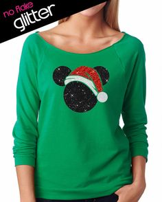 Disney Shirt GLITTER - Christmas Santa Hat Mickey // Lightweight 3/4 length Off Shoulder Scoop // Mickey // Holiday // Adult (6951 green)