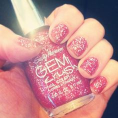 Gem crush Nail glitter nails pink glitter nail pretty nails nail art nail ideas nail designs gem crush