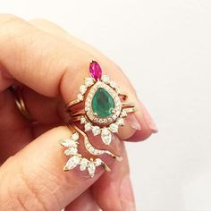 http://rubies.work/0637-ruby-rings/ WEBSTA @ annasheffield - Flora inspiration abounds! Colors and jeweled petal-like diamond rings have a way of saying 'its a beautiful spring day!' At least to me.-#flora #springfever #emerald #ruby #diamond #stackingrings #colorcrush #rosegold #AnnaSheffield #peony #petal #marquise #Tiara #butterfly #beauty
