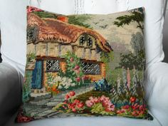 tapestry cottage cushion (sold)