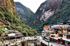 The town isn't a big one and is built into the surrounding hillside. Running through the middle of Aguas Calientes are train tracks