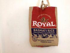 Upcycled Basmati Rice Burlap Tote Bag by handmadehabitat on Etsy, $24.00