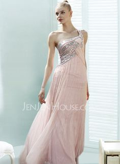 Prom Dresses - $130.49 - Brilliant A-Line/Princess One-Shoulder Floor-Length Chiffon Charmeuse Prom Dresses With Ruffle Beading (018004824) jenjenhouse.com