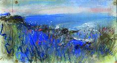 Seascape and Long Grass pastel by Joan Eardley