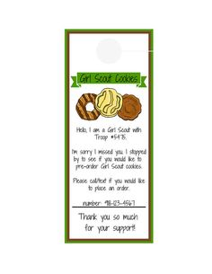 Girl Scout Cookie Sale Door Hanger by Formytwogirls on Etsy